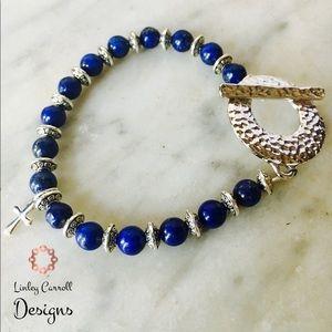 Jewelry - SOLD! Lapis Lazuli Bracelet with Silver Cross